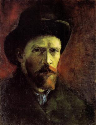 Vincent van Gogh. Self portrait in a dark felt hat