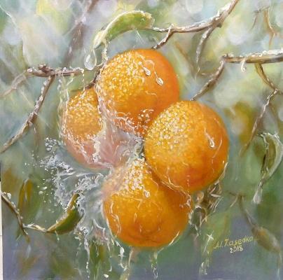 Marina Zasedko. Summer rain, oil, hardboard 30x30 cm