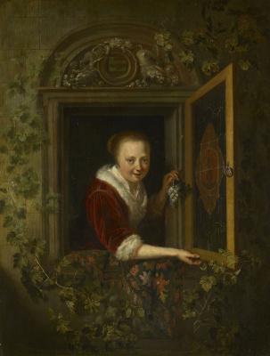 Геррит (Герард) Доу. Девушка в окне с гроздью винограда