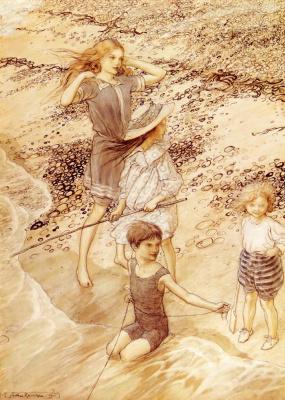 Arthur Rackham. Children on the seashore