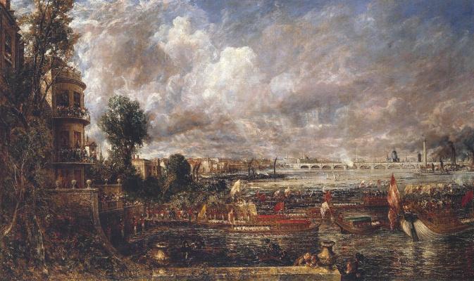 John Constable. The opening of Waterloo bridge on 18 June 1817