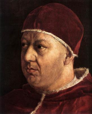 Raphael Sanzio. Portrait of Pope Leo X. Fragment