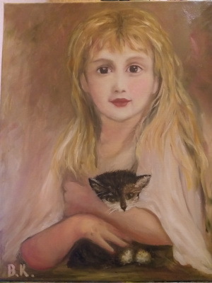 "Валерия Костромина. Картина ""Девочка с  котенком """