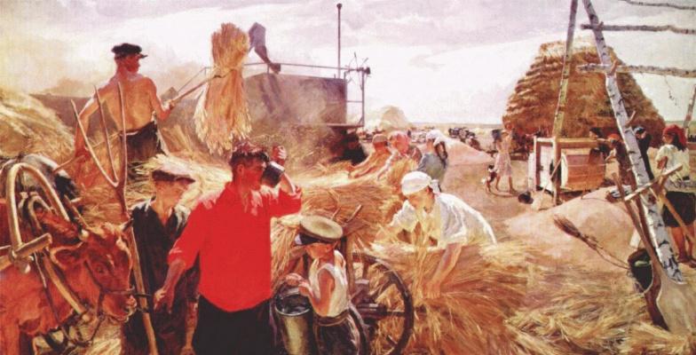 Arkady Alexandrovich Plastov. Threshing on the farm