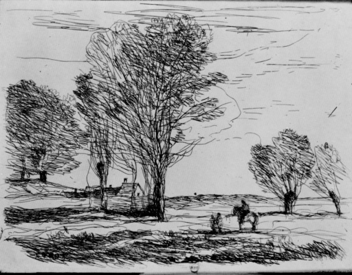 Camille Corot. A horseman waiting on a dirt road