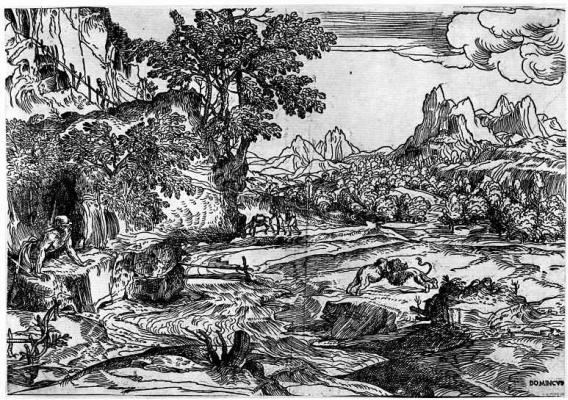 Доменико Кампаньола. Пейзаж со святым Иеронимом