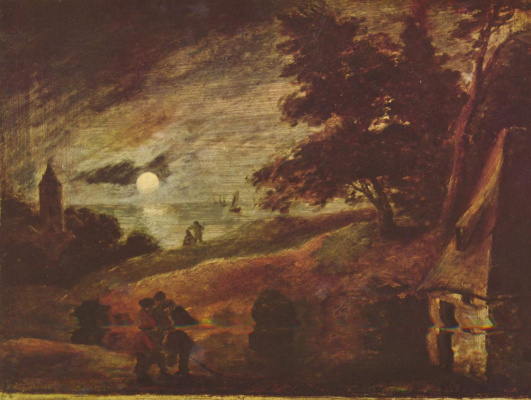 Адриан Брауэр. Пейзаж при лунном свете