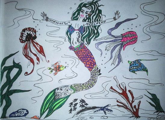 "Николай Николаевич Оларь. Series of stylized drawings: ""Underwater fantasy"" (13)"