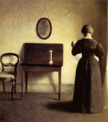 Vilhelm Hammershøi. Interior with a woman reading a newspaper