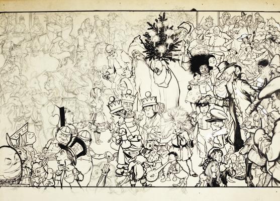 Arthur Rackham. Christmas book (sketch)