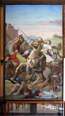 Johann Friedrich Overbeck. The frescoes of the villa Massimo, Tasso Hall: Argante, Rinaldo and Clorinda in battle