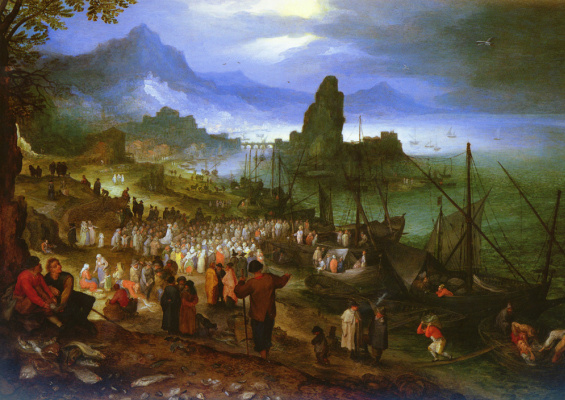 Jan Bruegel The Elder. Christ preaches at the port