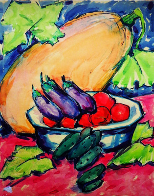 Maria Markovna Dzhagupova. Still life with vegetables