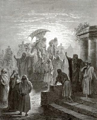 Поль Гюстав Доре. Иллюстрации к Библии: Исаак встречает Ревекку