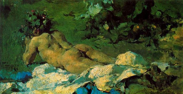 Игнасио Пиназо. Лежащая обнаженная в саду