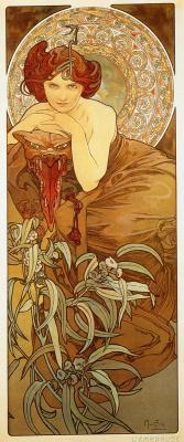 "Alphonse Mucha. Emerald. From the series ""Precious stones"""