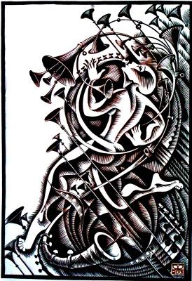 "Vladimir Kataev. ""Silence 2"", linocut, 65 X 45 cm, 2013"