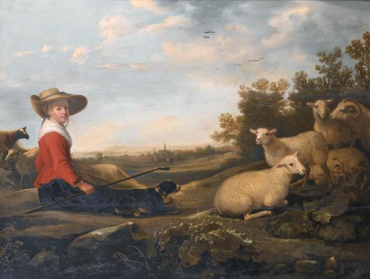 Jakob Gerrits Cape. Shepherdess and sheep
