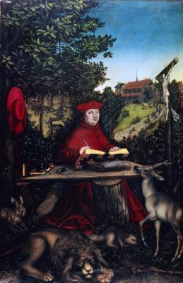 Лукас Кранах Старший. Портрет кардинала Альбрехта Бранденбурского на фоне пейзажа в образе святого Иеронима