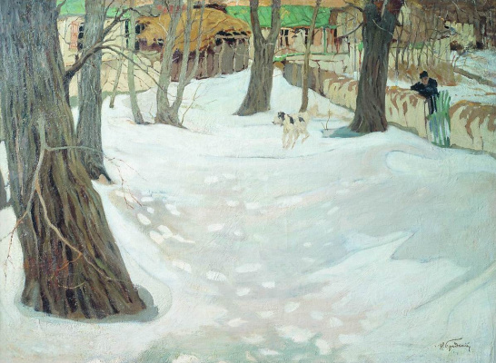 Isaac Brodsky. Winter landscape with a house and a dog