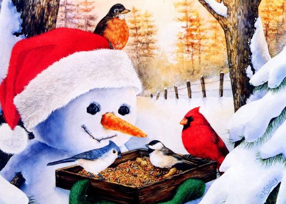 Джейн Мадай. Снеговик с птичьей кормушкой