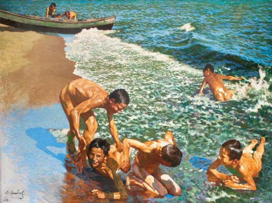 Дамиан Васильевич Шибнев. Boys swimming in the Black Sea