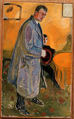Edvard Munch. Self-portrait in a raincoat and hat