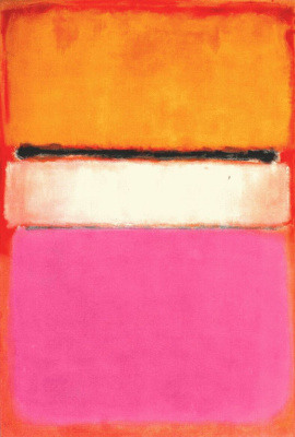 Rothko Mark. White center (yellow, pink and lavender on red)