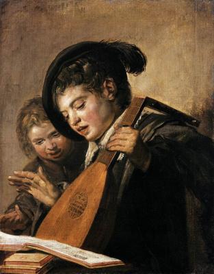 France Hals. Portrait of two boys singing