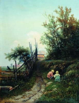 Efim Efimovich Volkov. Rural landscape with children