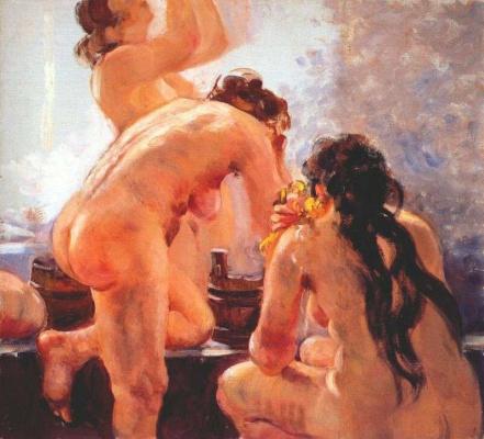 Alexander Mikhailovich Gerasimov. Communal bath (research) 1940