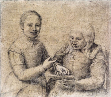 Sofonisba Anguissola. Grammar lesson. Portrait of an old woman and a laughing girl