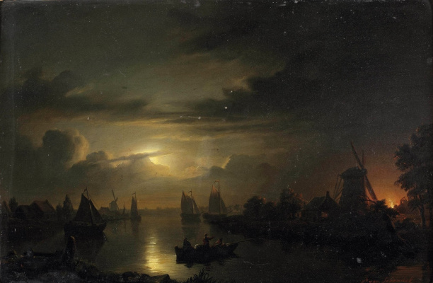 Petrus van Shendel. Lunar river landscape with fire in the distance.