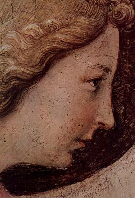 Фра Беато Анджелико. Цикл фресок доминиканского монастыря Сан Марко во Флоренции, сцена: Благовещение, деталь: Лик ангела
