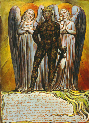 "William Blake. Angels surround Intra. Illustration for the poem ""Europe: a prophecy"""