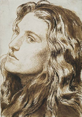 """Dante Gabriel Rossetti. Portrait of Mrs. Beyer. A sketch for the painting """"Joan of Arc"""""""