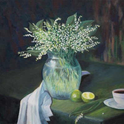 Albert Safiullin. Still life with lily of the valley and lime.