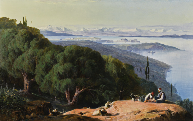 Эдвард Лир. Shepherds and view of Corfu from Mount Gasturi