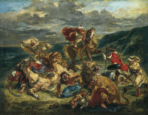 Eugene Delacroix. Hunting lions