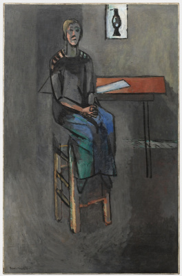 Woman on a high stool