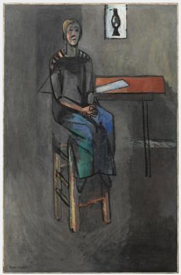 Woman on a high stool