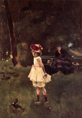 Альфред Стивенс. Мать с дочкой в лесу
