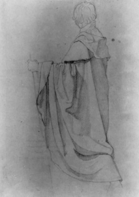 Peter von Cornelius. Study of a draped male figure with a stick, facing left