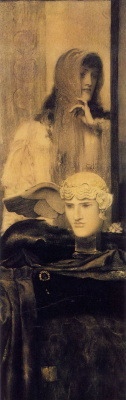 Fernand Knopf. Nyx and Hypnos, goddess of the night (White, black and gold)