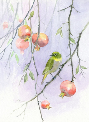 Smbat Arayevich Bagdasaryan. Bird on a pomegranate branch