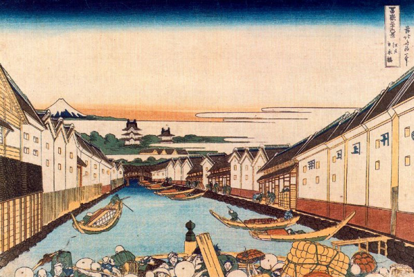 Katsushika Hokusai. The Nihonbashi in Edo