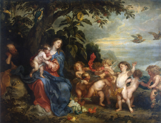 Anthony van Dyck. The rest on the flight into Egypt (Madonna with partridges)