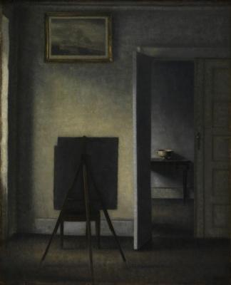 Vilhelm Hammershøi. Interior with easel (painter's easel)