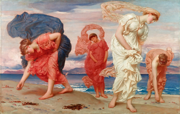 Frederic Leighton. Greek girls collect pebbles from the sea