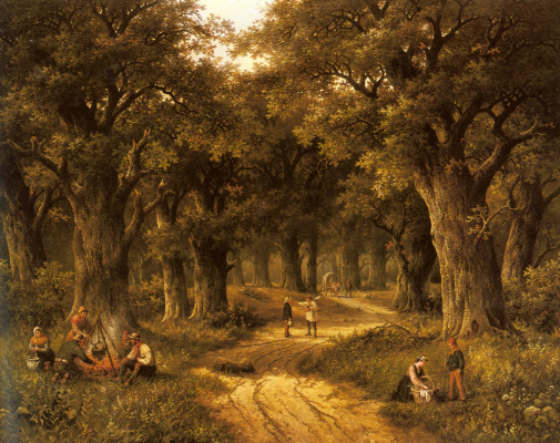 Хендрик Баренд Куккук. Крестьяне  готовят  еду на лесистых путях